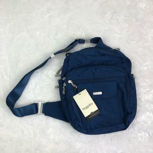 NEW Baggallini blue nylon messenger travel bag